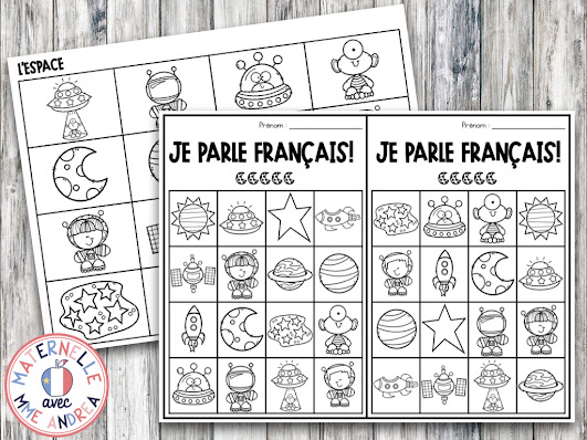 FREE Space-Themed French Behaviour Bingo for encouraging your French primary students to speak more French!