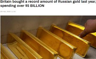 2019년 러시아 금 수출량 8배 급증, 영국의 러시아 금 수입량 11배 급증 - RT