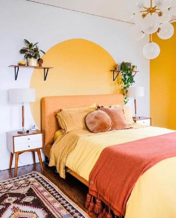 Simple yellow and white feminine bedroom decoration