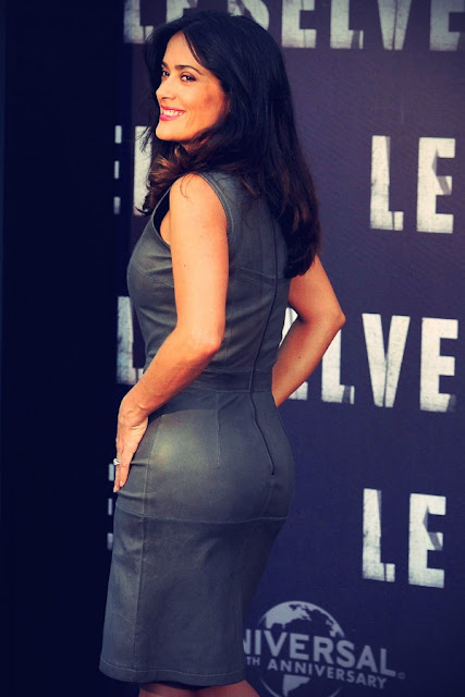 lovely ladies in leather salma hayek wearing a leather dress. Black Bedroom Furniture Sets. Home Design Ideas