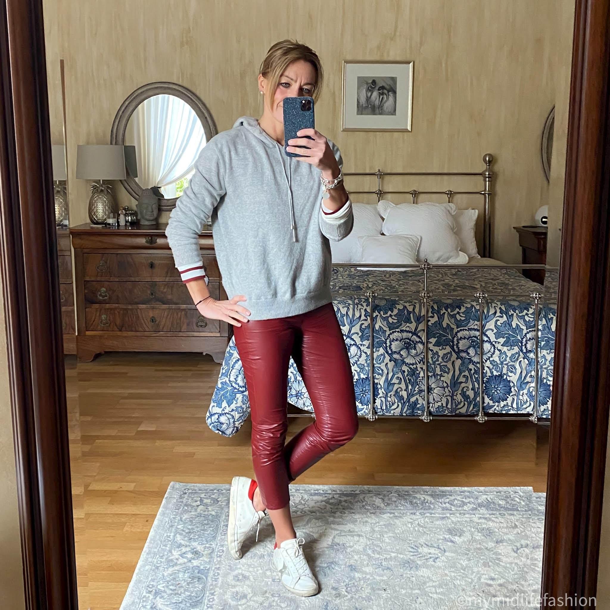 my midlife fashion, marks and Spencer cashmere hooded jumper, baukjen Emma breton top, Isabel Marant Etoile faux leather trousers, golden goose superstar low top leather trainers