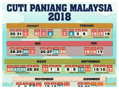 Kalendar Cuti Umum dan Cuti Sekolah Malaysia 2018