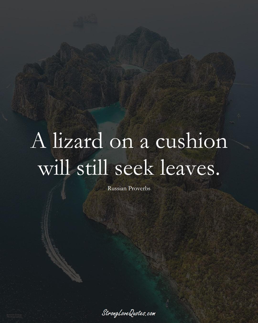 A lizard on a cushion will still seek leaves. (Russian Sayings);  #AsianSayings