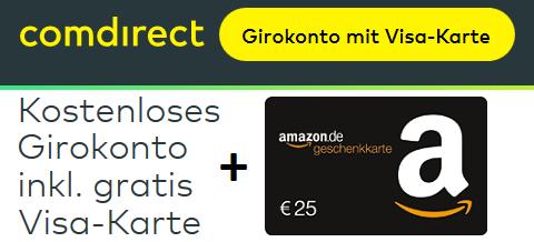 Visa Karte Comdirect.Comdirect Girokonto Mit 25 Amazon Gutschein 100 Prämie
