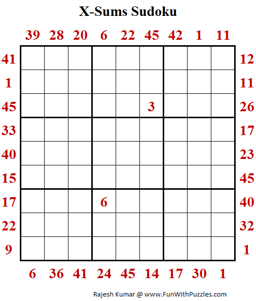 X-Sums Sudoku Puzzle (Fun With Sudoku #252)