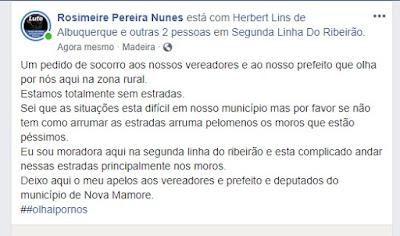 ESTRADAS ABANDONADAS DAS LINHAS DO RIBEIRÃO LEVA MULHER A FAZER PEDIDO DE SOCORRO EM REDE SOCIAL, CONFIRA: