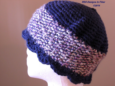 Blue Tweed Ladies Cloche Hat - Handmade By Ruth Sandra Sperling at RSS Designs In Fiber