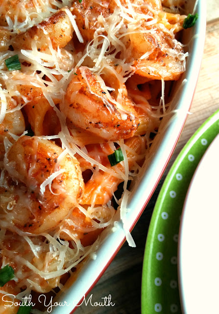 Easy Shrimp & Pasta! This whole dish cooks in the time it takes to cook the pasta. Use any pasta sauce you like (prepared or homemade). Can substitute chicken for shrimp too!