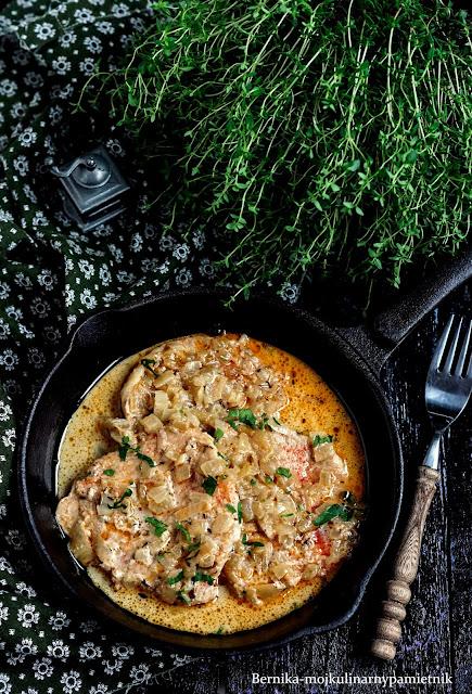 schab, cebula, sos, obiad, bernika, wieprzowina, kulinarny pamietnik