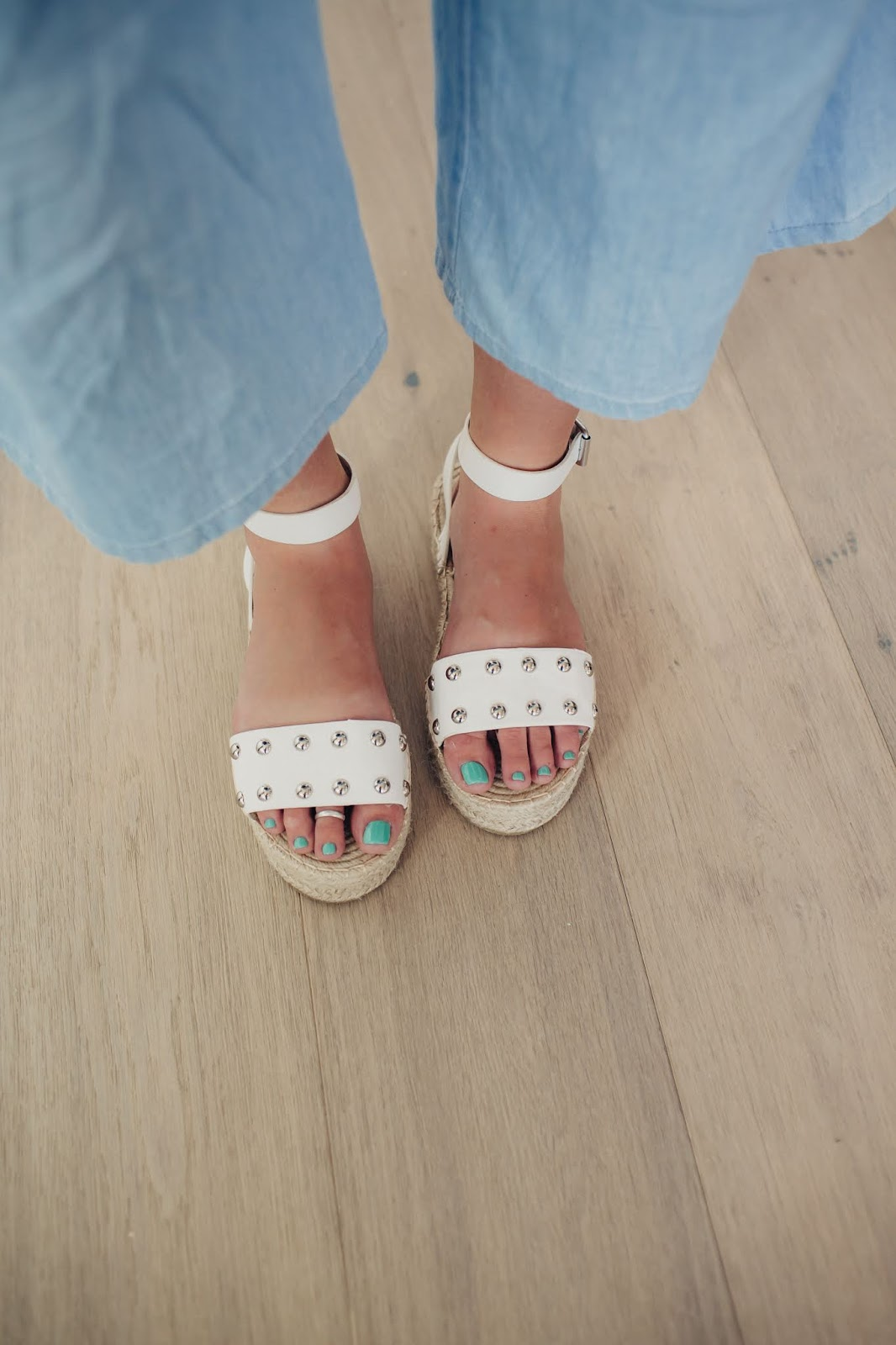 Espadrilles, Denim Outfit, White Sandals