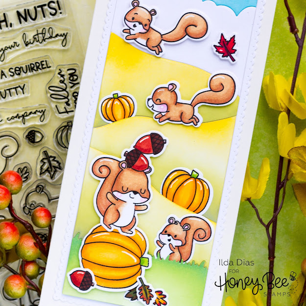 encouragement card,Stamps,handmade card,Life Is A Bit Nuts,Honey Bee Stamps,ilovedoingallthingscrafty,stamping,Squirrels,Card,Slimline,Autumn Afternoon Release,Fall,card making,