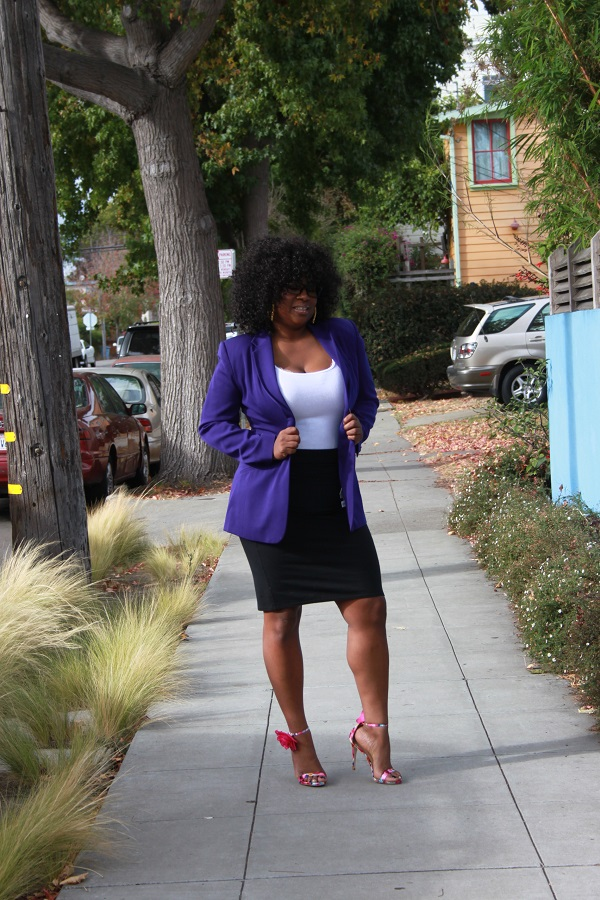 purple-thrift-store-blazer, black-pencil-skirt, white-tank-top, floral-heels, strappy-heels, black bloggers, plus-size blogger