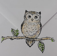 "It's Owl Good - owl on branch 7"" x 5"" hand coloured card envelope"