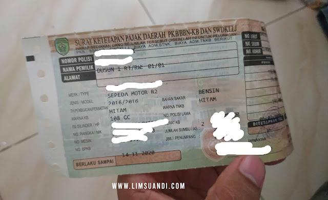 Kondisi STNK setelah dilakukan pembayaran di Samsat Corner PS Mall Palembang (doc. Pribadi/Lim Suandi)