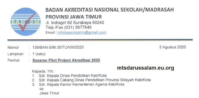 Sasaran Pilot Project Akreditasi 2020 Provinsi Jawa Timur