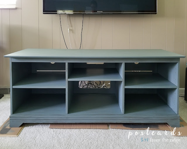 painted media console makeover