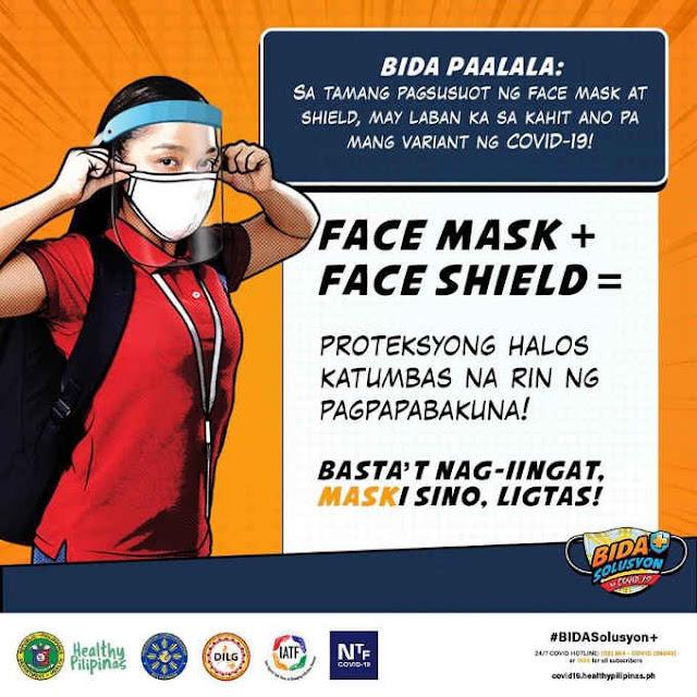 face mask at face shield