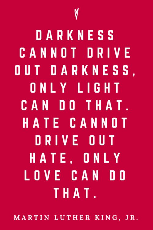 """""""Darkness cannot drive out darkness; only light can do that. Hate cannot drive out hate; only love can do that.""""- Martin Luther King Jr. - design addict mom"""