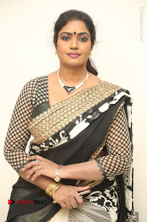 Telugu Actress Jayavani Jayavani Stills in Black Saree at Intlo Deyyam Nakem Bhayam Success Meet  0055.JPG