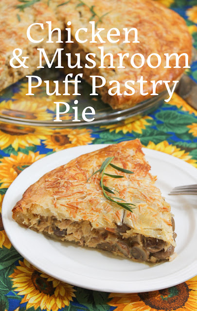 Food Lust People Love: Flaky puff pasty and a delectable filling make this chicken and mushroom puff pastry pie the perfect luncheon or brunch fare. It's delicious warm or at room temperature. This special pie will generously serve 4-6 people. Serve it alongside some freshly steamed vegetables or a crisp green salad.