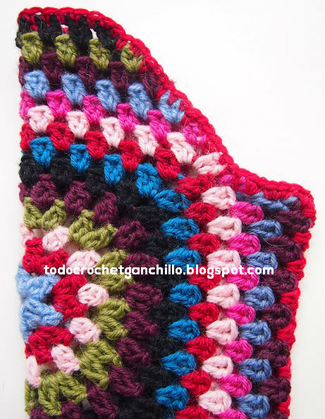 manga ranglan de saco tejido con grannys crochet