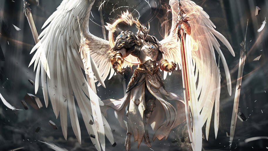 Angel, Warrior, Sword, Fantasy, 4K, #6.757