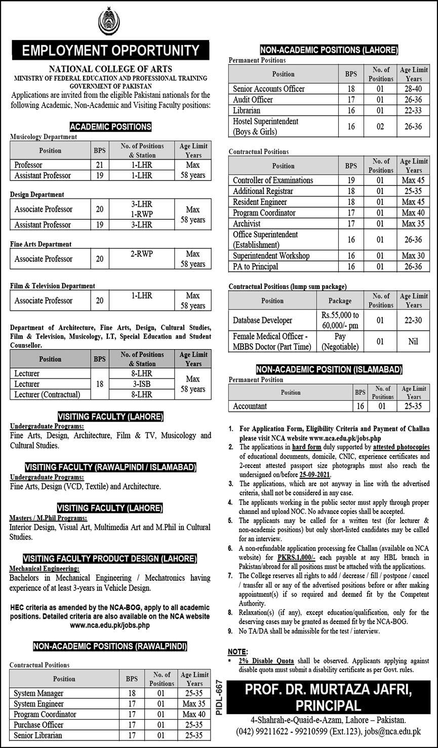 NATIONAL COLLEGE OF ARTS JOBS 2021