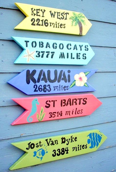 Beach Arrow Miles Signs