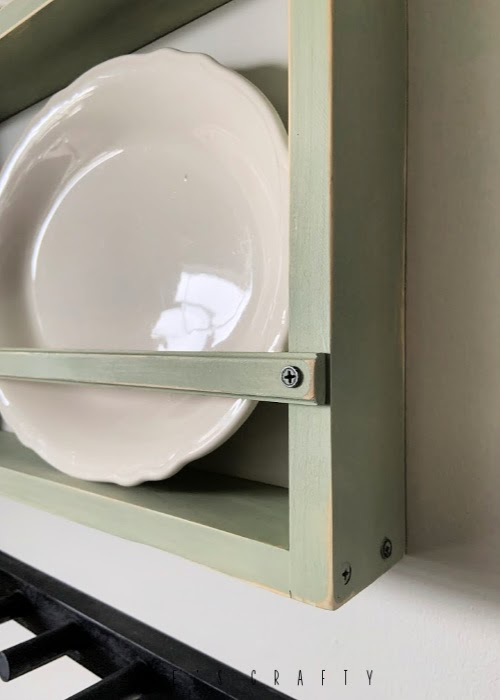 Distressed paint wall mounted dish rack