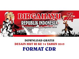 Contoh Desain Banner HUT RI Ke 74 TH 2019 Free Vector CDR, Ai, EPS, PNG