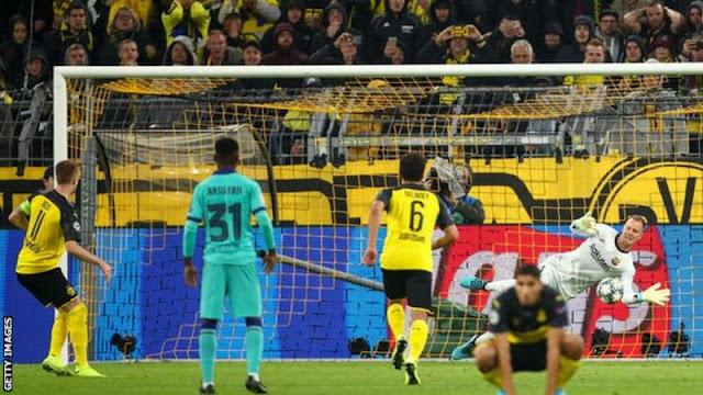 Champions League: Ter Stegen saves Marco Reus' penalty as Barcelona draw Borussia Dortmund