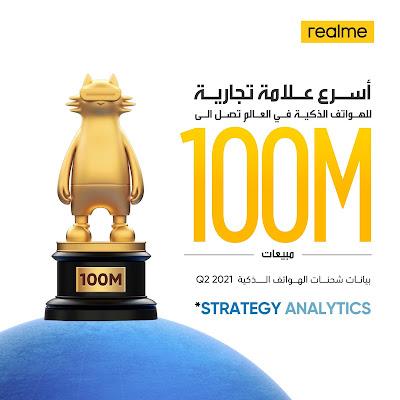 realme العلامة التجارية الأسرع نمواً للهواتف الذكية وصلت إلى 100 مليون مستخدم على مستوى العالم