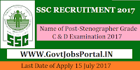 Staff Selection Commission Recruitment 2017– Stenographer Grade C & D Examination 2017