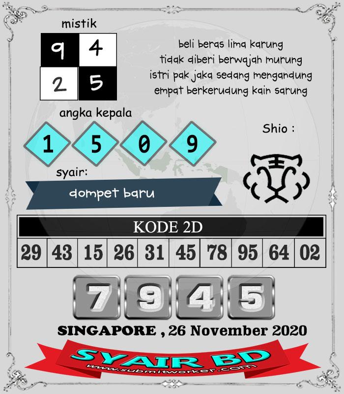 Prediksi Syair BD SGP Kamis 26 November 2020