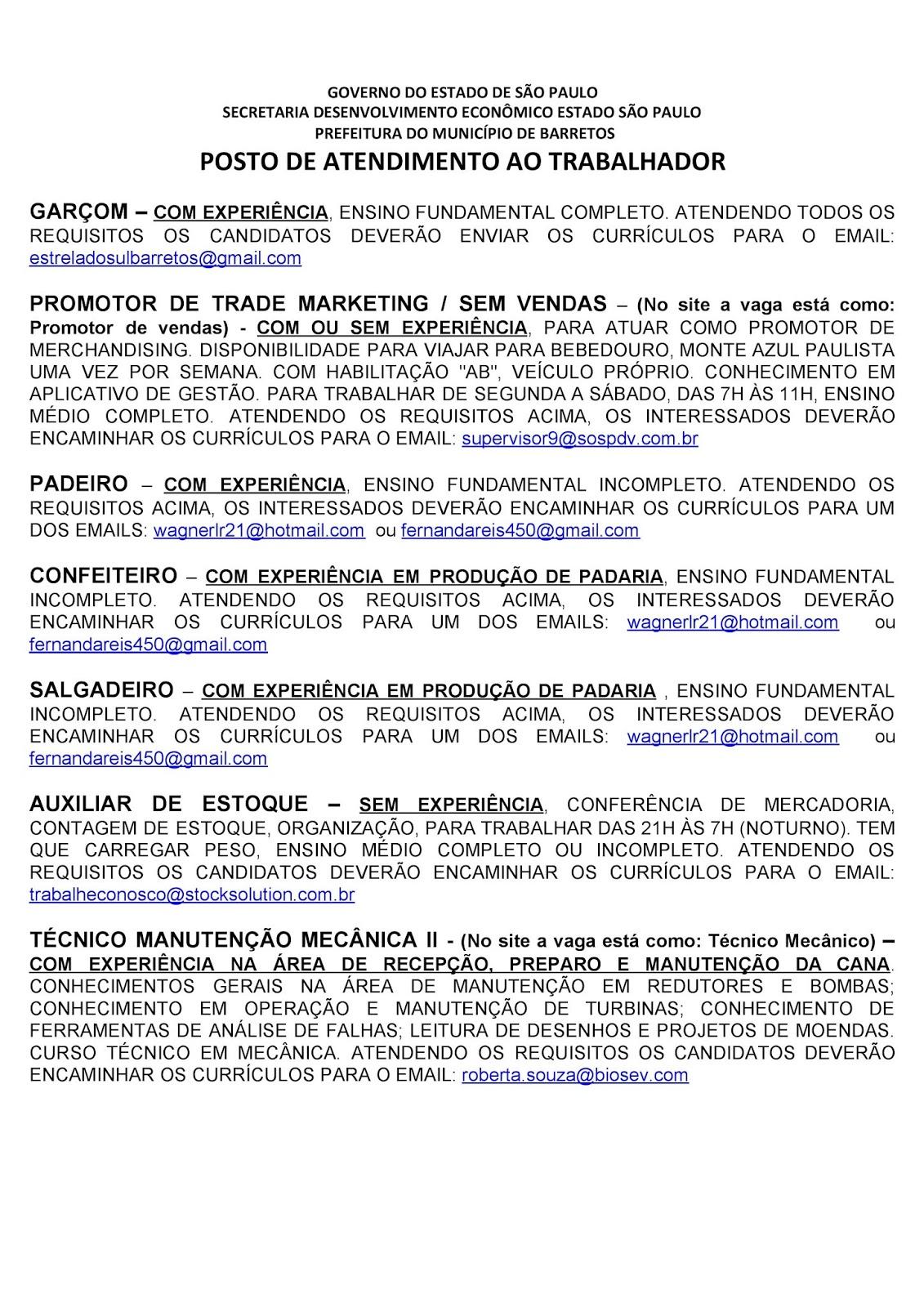 VAGAS DE EMPREGO DO PAT BARRETOS-SP PARA 27/07/2020 PUBLICADAS NA TARDE DE 24/07/2020 - PAG. 3