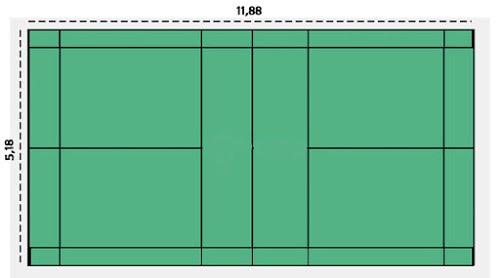 gambar lapangan bulu tangkis beserta ukurannya