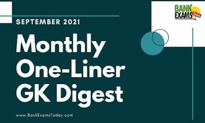 Monthly One-Liner GK Digest: September 2021