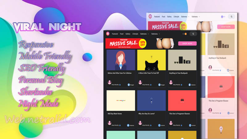 Viral Night Premium Responsive Blogger Template - No Footer