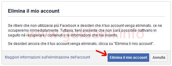 Facebook impostazione Elimina il mio account