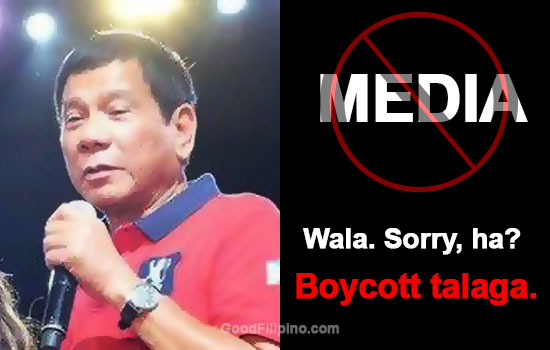 Duterte: 'No more interviews, Sorry ha, Boycott talaga'