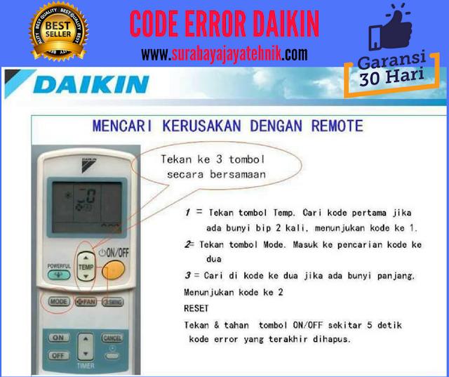 Macam-Macam Kode Error Pada AC Daikin Lengkap