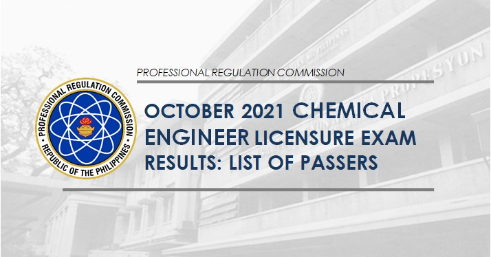 RESULT: October 2021 Chemical Engineer ChemEng board exam list of passers