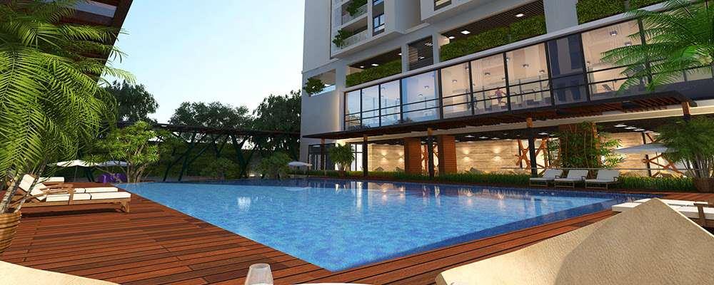 Hồ bơi rộng 400 m2 ngoài trời chung cư Five Star Kim Giang