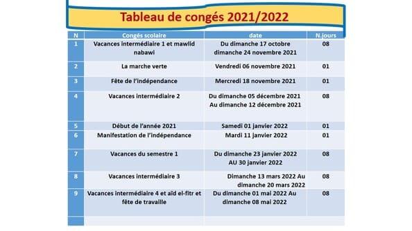لائحة العطل المدرسية بالفرنسية 20212022