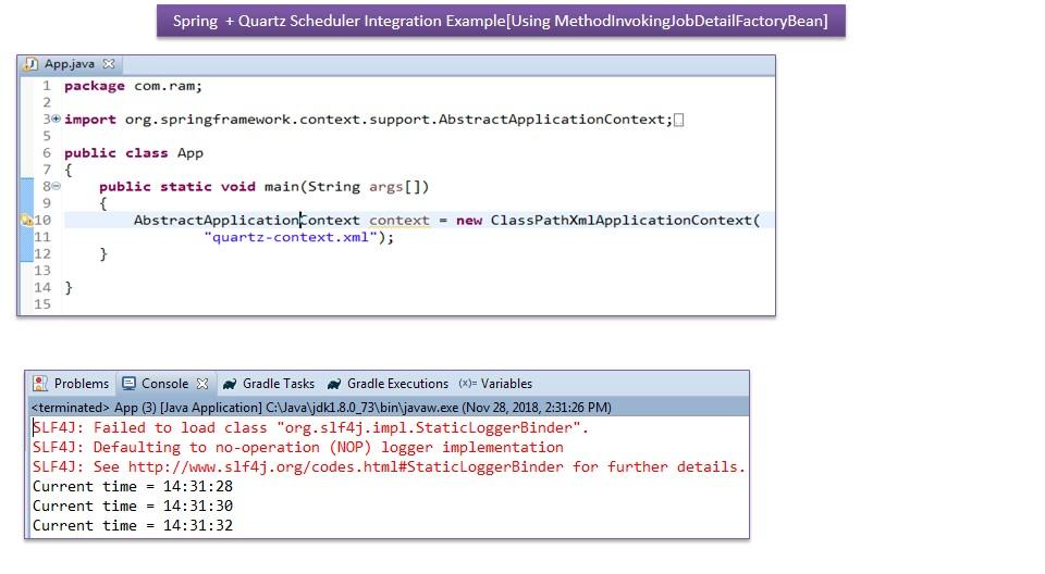 JAVA EE: Spring+Quartz Scheduler Integration Example