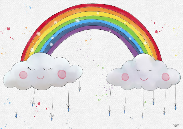Whimsical clouds and rainbow by Rachel gillham Art