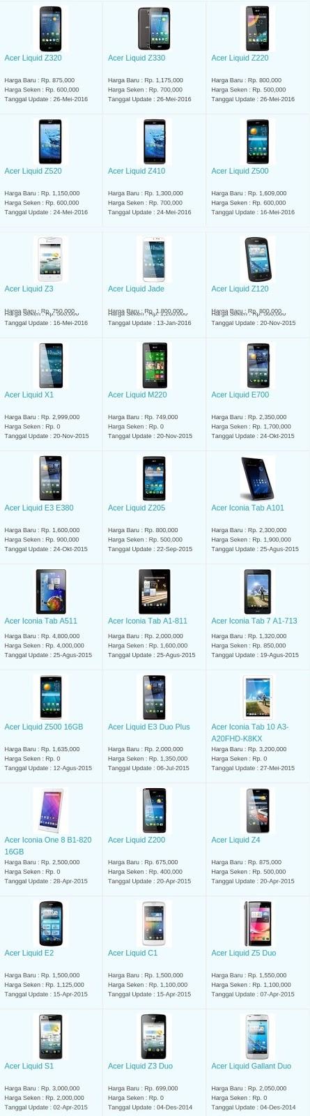 Daftar Harga Hp Terbaru Acer Juni 2016