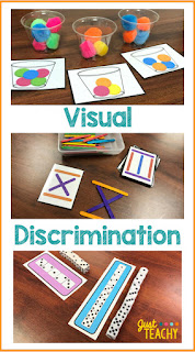 Visual Discrimination Activities: Poms & Cups, Popsicle Stick Designs, Stacking Dice.  Also great to develop fine motor skills!  www.JustTeachy.com