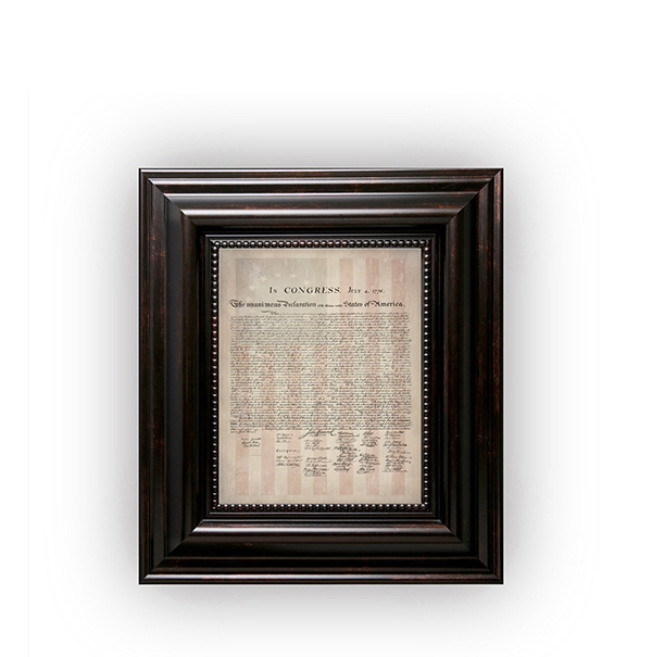 Framed Declaration of Independence with 1776 Flag / Parchment Paper Background - Brown I & II