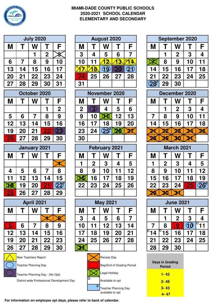 Miami-Dade County School Calendar 2020-21